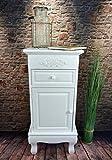 Livitat® Nachttisch Nachtschrank Nachtkonsole Nachschränckchen Nachtkommode Weiß barock LV4059 (1 Tür)