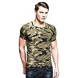 CHIC-CHIC T-Shirt Motif camouflage militaire Imprimé camouflage Woodland Forces militaires Combat Cargo Haut Courte Manche (XL, camouflage)