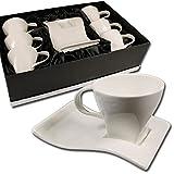 12 tlg. Kaffeetassen Set im edlen Design mit Geschenkkarton