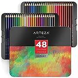 Arteza Estuche de lápices de colores para dibujo profesional | Caja de 48 unidades | Lápices de dibujo artístico | 48 colores numerados