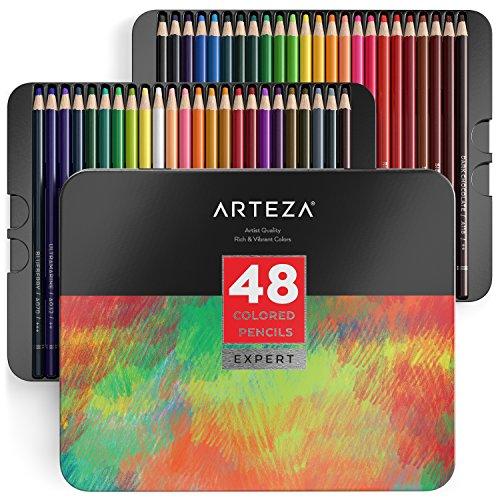 Arteza matite colorate da disegno professionali, set da 48 pezzi multicolore, scatola in latta, ideali per colorare disegni, fumetti e manga, per professionisti e principianti