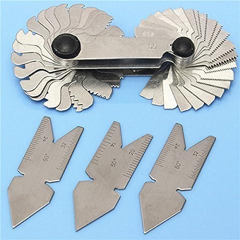 Yongse 4 pezzi vite passo del filetto da taglio Gauge Tool Set Centro Gage 55 &60 ° pollici &Metric - Centro Gage