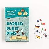 Miss Wood Europa Banderas del Mundo. Chinchetas con adhesivo