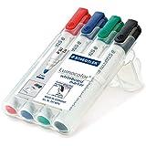 Staedtler marqueurs tableaux blancs Lumocolor, effaçables à sec sur surfaces lisses, séchage rapide, 4 couleurs assorties en étui chevalet Staedtler, 351 WP4