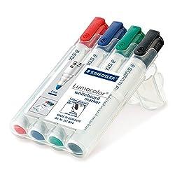 Staedtler Lumocolor 351 WP4 Bullet Tip Whiteboard Marker - Assorted Colours (Pack Of 4)