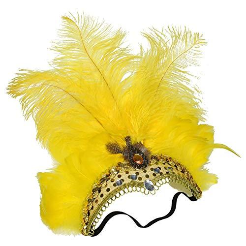 Feynman Bauchtanz Stirnband Feder Haarschmuck Kopfabdeckung Damen Mädchen für Halloween Party Karneval Fastnacht Fasching, Gelb