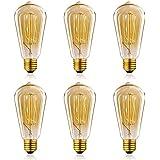 Homestia ST64 Ampoules à Incandescence 220V 60W E26/E27 Rétro Edison Ampoule Antique Lampe (Lot de 6)