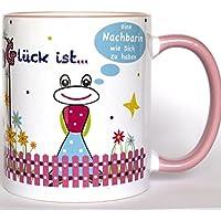 Tasse Nachbarin Rosa, Glück ist eine Nachbarin wie Dich zu haben, beste Nachbarin, Tasse mit Spruch, Glücksbringer, Geschenkidee für Nachbarin