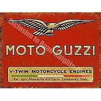Moto Guzzi V-Twin motori Vintage per Moto, in metallo e in acciaio da Garage segno, Acciaio, 30 x 40 cm