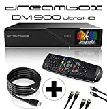 Dreambox DM900 UHD 4K E2 Linux Receiver mit 2X DVB-S2X/1x DVB-C/T2 Triple Tuner (inkl. Gratis Kabelset: 1x HDMI Kabel + 2 x 1,5m Sat Anschlusskabel + 1 x 1,5m HDTV-Antennenkabel)