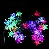 LJJTDS Luci Decorative di Natale 4.5M /14.8Ft Luci Impermeabili, Corde di Luce Stelle Lampeggianti per Interni Decorazioni per Le Vacanze All'Aperto,Multi-Colored