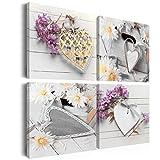 Bilder 60x60 cm - 3 Farben zur Auswahl - Fertig Aufgespannt – TOP - Vlies Leinwand - 4 Teilig - Wand Bild - Kunstdruck - Wandbild - Herzen Blumen n-A-0039-b-k 60x60 cm