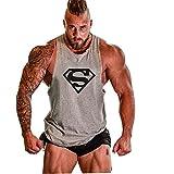 Kecko Herren Sommer Fitness Shirt Tankshirt Tops Tank Sport Trägershirt Oberteile Superheld Tanktops Unterhemd Baumwolle (M, Grau)