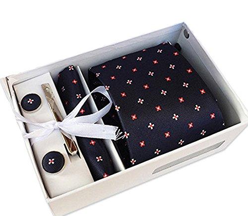 YaoDgFa Herren Krawatte - Box Set mit Einstecktuch, Manschettenknöpfe und Krawattennadel, Taschentuch Schwarz (Taschentuch-geschenk-box)