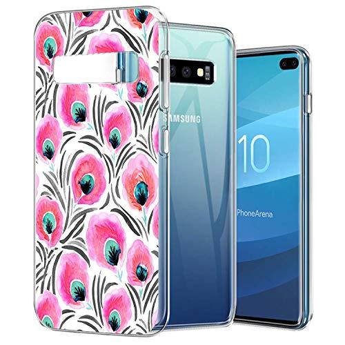 SOONSOP Handyhülle für Samsung Galaxy S10 Plus Schutzhülle Durchsicht Rahmen TPU Silikon Case mit Sylish Patch Hülle Ultra Dünn Slim Backcover Premium Case in Phoenix Schwanz