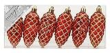 6 Kunststoff Zapfen 9cm ( rot ) PVC bruchfest // Christbaumkugeln Dekokugeln Weihnachtskugeln Baumkugeln Baumschmuck Set