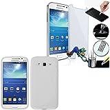 Samsung Galaxy Core 4G LTE SM-G386F: carcasa rígida Carcasa de Gel de silicona con diseño de S-Line Color blanco 1x protector de pantalla Cristal Vidrio Templado Premium