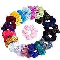 ربطات شعر سكرانشيز (20 قطعة) من ربطات الشعر المطاطية المخملية المرنة، ربطات سكرانشي للنساء او الفتيات، 20 لون متنوع