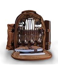 Mochila de 4 Personas para Picnic, Konesky Picnic Mochila para Mochila con Compartimiento de Refrigerador, Manta de Lana, Bolsa para Nevera de Vino, Cubiertos y Platos - Marrón