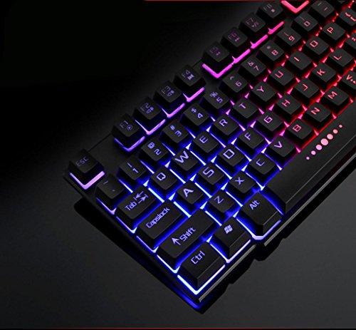 7Farben professionelle Game Tastatur, mamum bunt Crack LED Beleuchteter USB Wired PC Rainbow Gaming Tastatur Einheitsgröße schwarz - 3