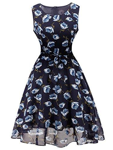 Feoya Robe Floral Femme Grande Taille Imprimée Fleurie sans Manche Courte avec Ceinture Décontracté Haute Taille Patineuse Ruché Coton Eté Fleur à bleu Marine
