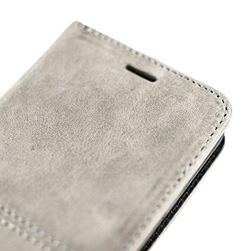 QIOTTI >               SAMSUNG GALAXY S8               < incl. PANZERGLAS H9 HD+, RFID Schutz, 2-in-1 Booklet mit herausnehmbare Schutzhülle, magnetisch, 360 Grad Aufstellmöglichkeit, Wallet Case Hülle Tasche handgefertigt aus h GRAU