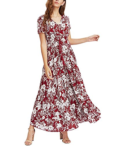 Auxo Damen Kurzarm V-Ausschnitt Sommer Boho Print Party Club Cocktail Maxi Lang Kleid Wein Rot