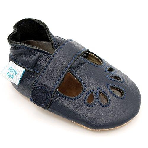 Dotty Fish - Chaussures cuir souple bébé – Filles T-Bar Marine Filles T-Bar