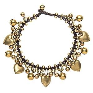 81stgeneration Liebes Herz Perle Messing Gold Charme Glocke Armband Fußkettchen