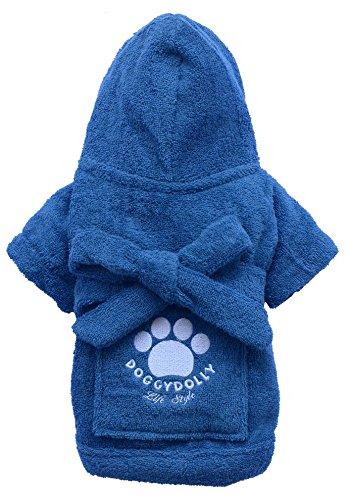 Doggy Dolly DRF019 Bademantel für Hunde, blau, Größe : XL
