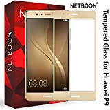 HUAWEI P9 Tempered Glass - NETBOON® Branded Full Screen Cover Crystal Clear 9H Hardness Screen Protector Glass Guard For HUAWEI P9 - (Gold)