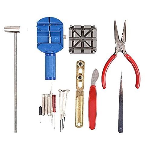Kit de réparation de montre Set & Dragonne Régler Pin kit arrière Remover Fix 16pièces Outils