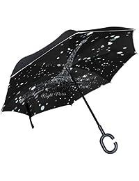 ALAZA noche París ciudad dibujo torre Eifel blanco lunares diseño paraguas paraguas plegable de doble capa