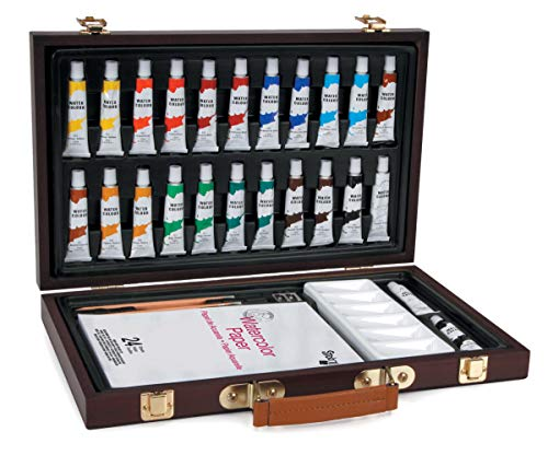 Darice Studio 71 Wood Box Watercolor Painting Set 34/Pkg- - Darice-box