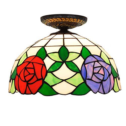 YDYG 12-Zoll-Tiffany-Stil Deckenleuchte Glasmalerei Korridor Gang Lampe Wohnzimmer Schlafzimmer Zwei-Ton-Rose Dekoration Deckenleuchte -