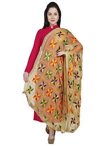 Dupatta Bazaar Woman's Beige & Multicoloured Phulkari Embroidery Chiffon Dupatta