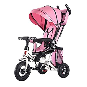 YUANFANG 4 in 1 Toddler 3 Wheelers Kids Tricycle with Detachable Canopy Pushing Handle Ride-on Trike Baby Carriage Trolley with Cup Holder,Pink   4