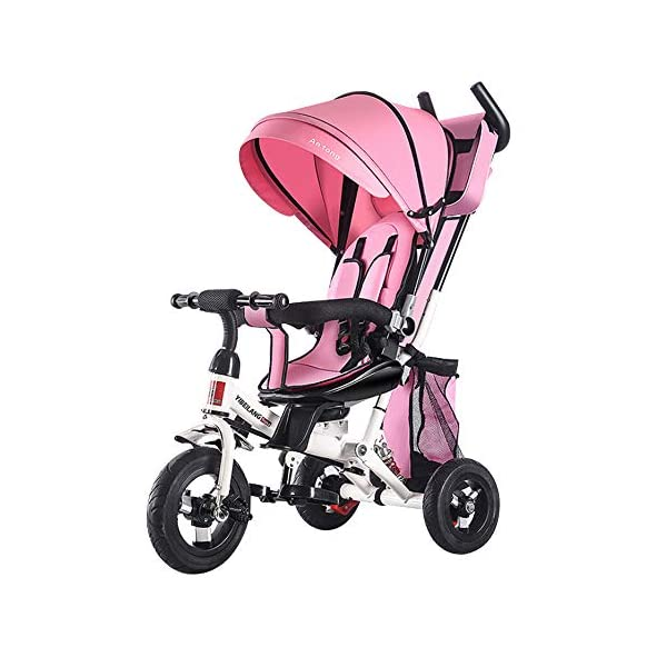 YUANFANG 4 in 1 Toddler 3 Wheelers Kids Tricycle with Detachable Canopy Pushing Handle Ride-on Trike Baby Carriage Trolley with Cup Holder,Pink YUANFANG Suitable for children from 6 months to 6 years.4 in 1 design, 4 stages to grow with your child, Removable canopy, 180° rotating guardrail and Five-point seat belt, Removable and adjustable parent handle,Widening wear-resistant explosion-proof titanium empty wheel, Adjustable seat and foldable footrest, Easy grip handles, Detachable storage bag.Material: high quality carbon steel and encrypted oxford cloth Stage 1 - More than 6 months, rotate direction, enjoy parent-child interaction,Initial stage tricycle using the fold away foot rests, Safety fence, baby seat harness and control handle for parents. Stage 2 - More than 18 months, the baby enjoys escort. Parents push and control the trike. 1