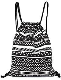 Hombres y mujeres Unisex bolso morral, Anglewolf patrón geométrico Retro mochilas de lona impresión bolsas Drawstring mochila(34.5cm*40cm, negro)