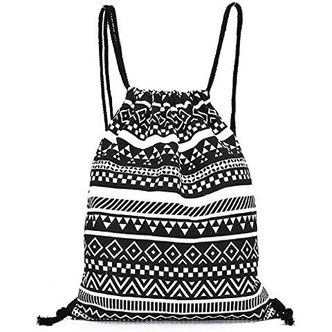 Hombres y mujeres Unisex bolso morral, Anglewolf patrón geométrico Retro mochilas de lona impresión bolsas Drawstring mochila(34.5cm*40cm,