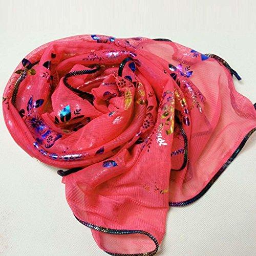 Transer ® Femelle Écharpes,Mode féminine Vintage Flower Colorful Imprimer Dentelle Gauze Veil Wrap Scarf Shawl Wrap Tissu Accessoires Pastèque rouge