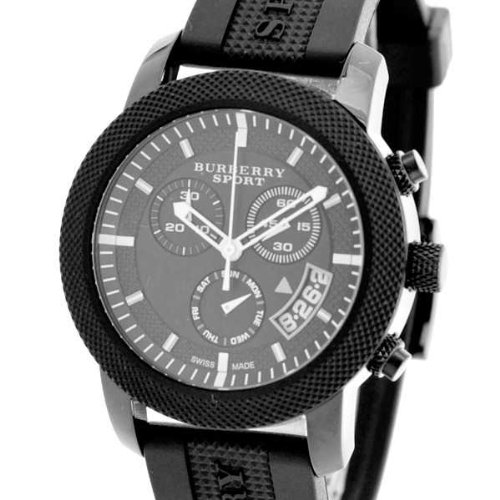 Burberry Sports SWISS LUXURY Unisex Men Women 40mm Round Stainless Steel Chronograph Watch Black Silicon/Rubber Band Black Date Dial BU7761