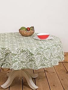 Housse de protection pour Table ronde Vert 70 cm Nappe de Table en lin - 100%  coton