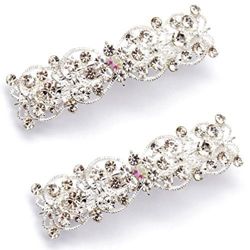 Luxxii (2 Pack) Flower Shaped Rhinestone Crystal Decorated Hair Barrette Clip Hair Pin (Silver Tone_A)