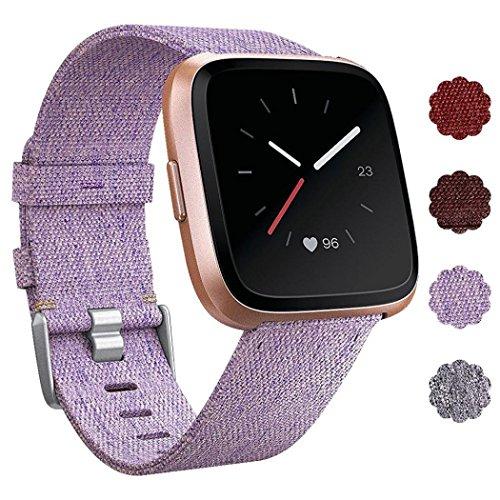 IGEMY Woven Fabric Handschlaufe Quick Release Ersatzarmband für Fitbit Versa Smart Watch (Lila) (Michael Kors Swarovski Uhr)