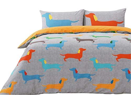 Houndstooth Dackel Sausage Dogs Grau Orange Doppel (Uni Dunkelgrau Passendes Leintuch - 137 X 191cm + 25) 4-tlg. Bettwäsche Set -