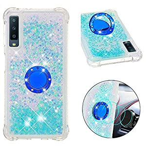 FAWUMAN Liquid Sparkly Quicksand TPU Gel Silicone Shockproof Phone Cover[Diamond Ring] Cases for Samsung Galaxy A7 (2018) / A750 (Silver light blue stars)   2