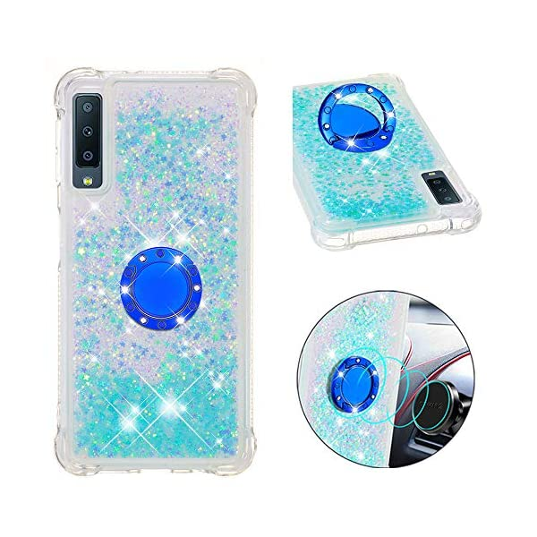 FAWUMAN Liquid Sparkly Quicksand TPU Gel Silicone Shockproof Phone Cover[Diamond Ring] Cases for Samsung Galaxy A7 (2018) / A750 (Silver light blue stars) FAWUMAN 1.Compatible Model: Samsung Galaxy A7 (2018) / A750, glitter liquid case specially for teenage, girls and women. 2.3D Quicksand creative cover, make your mobile phone Shiny Luxury Sparkle Glitter around.the inside quicksand flowing freely, make your mobile phone special and gorgeous, bring more fun to you. 3.Made of hight quality TPU: Scratch resistant and shock absorbent soft TPU covers all four corners offering all around shock absorbent drop protection keeping phone safe from dents, scratches, and other daily wear. 1