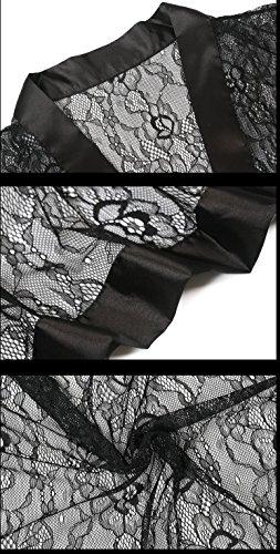 KAXIDY Femmes Chemises de Nuit Dentelle Sexy Babydoll Nuisette Lingerie Sexy Tentations Robes de Chambre Noir