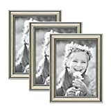 Photolini 3er Set Bilderrahmen Silber Barock Antik 13x18 cm Fotorahmen mit Glasscheibe/Kunststoffrahmen